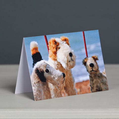 Vintage,Fox,Terriers,on,Wheels,Greeting,card,Vintage Fox Terriers on Wheels, Fox Terrier Network, Vintage Dog Toys Card, Toy Dogs Card, Dog on Wheels Card