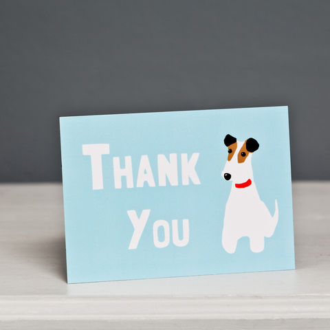 Terrier,Thank,You,Postcard,Thank You Postcard, Dog Postcard, Terrier Postcard, Wire Fox Terrier Postcard, Fox Terrier Postcard