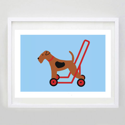 Dog,On,Wheels,Print,2,Dog on Wheels Print, Vintage Toy Dog