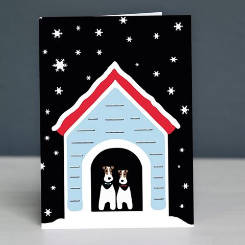 Fox,Terrier,Snowy,Christmas,Card,Fox Terrier Christmas Card