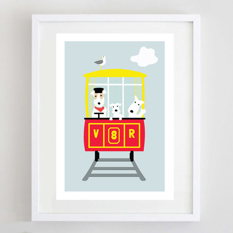 'All,Aboard',Print,Volk's Electric Railway, Volk's Railway, All Aboard, Dogs on Trains, Dog Lover