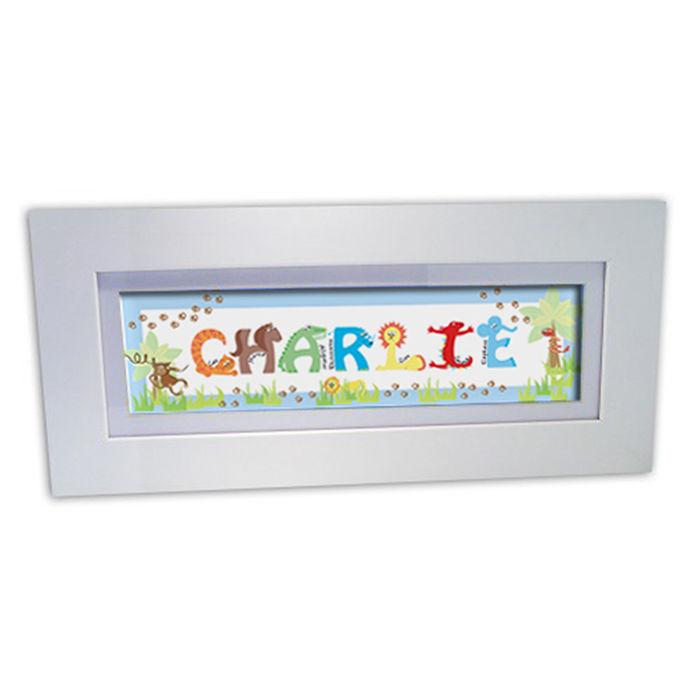 Animal Name Frame blue - Customised Baby Gifts | Childrenandabygifts
