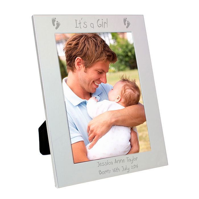 Silver 5x7 Footprints Frame - Customised Baby Gifts