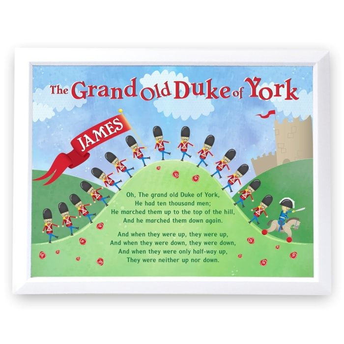Personalised Grand Old Duke of York Poster Frame - Childrens Gifts | childrenandbabygifts.co.uk