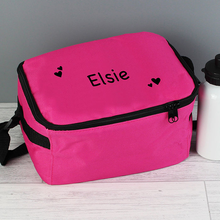 Pink Lunch Bag Black Hearts