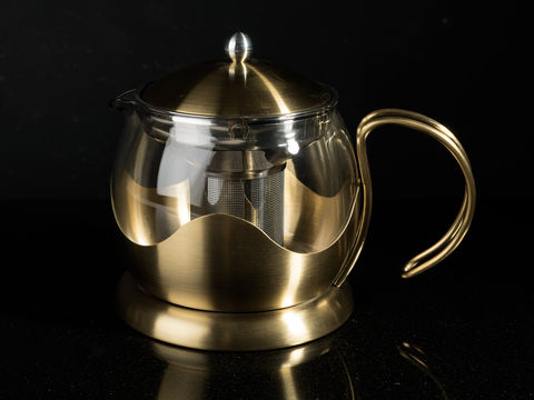 La,Cafetiere,Edited,660ml,Le,Teapot,Brushed,Gold,Glass Teapot, Tea, Teapot, Stainless Steel, Hot Drink, Glass, La Cafetiere