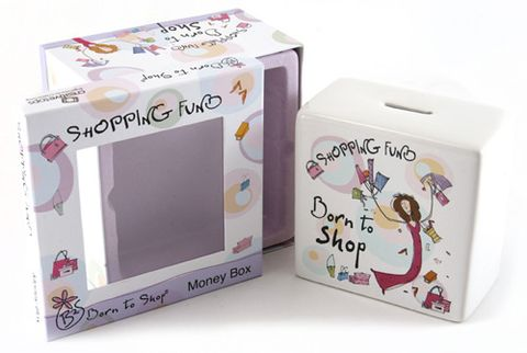 Born,to,Shop,Shopping,Fund,Money,Box,Gift for Her, Gifts, Birthday Gift, Money Box