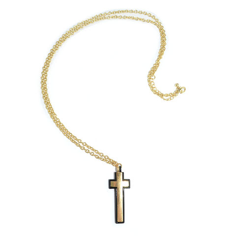 METALLIC,CROSS,NECKLACE