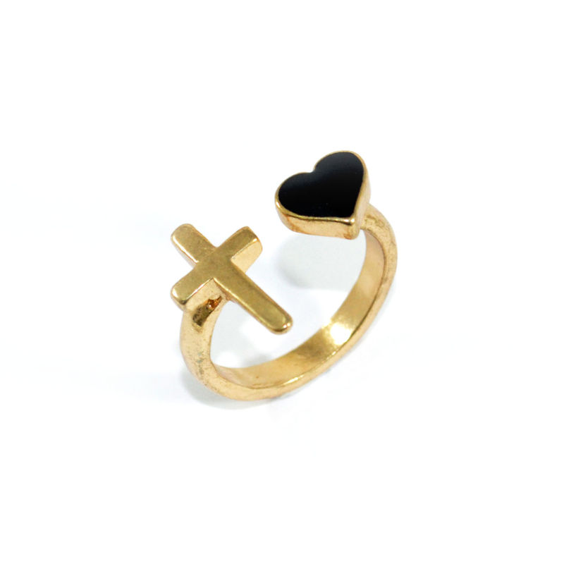 CROSS AND HEART RING - product image