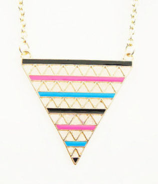 COLOURFUL STRIPES TRIANGLE NECKLACE - product image