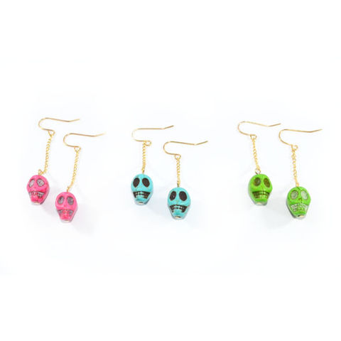 COLOURFUL,SKULL,EARRINGS,SKULL DANGLING EARRINGS, SKULL EARRINGS