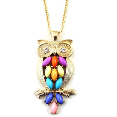 COLORFUL,GEM,WITH,CRYSTAL,OWL,NECKLACE,TUMBLR FASHION NECKLACE, OWL TUMBLR NECKLACE