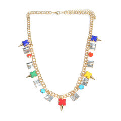 COLOURFUL,GEM,WITH,CLEAR,CRYSTAL,NECKLACE,GOLD CHUNKY NECKLACE, CRYSTAL GOLD NECKLACE