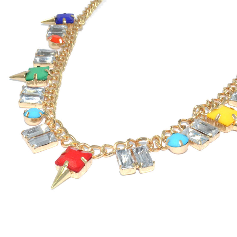 COLOURFUL GEM WITH CLEAR CRYSTAL NECKLACE - product image