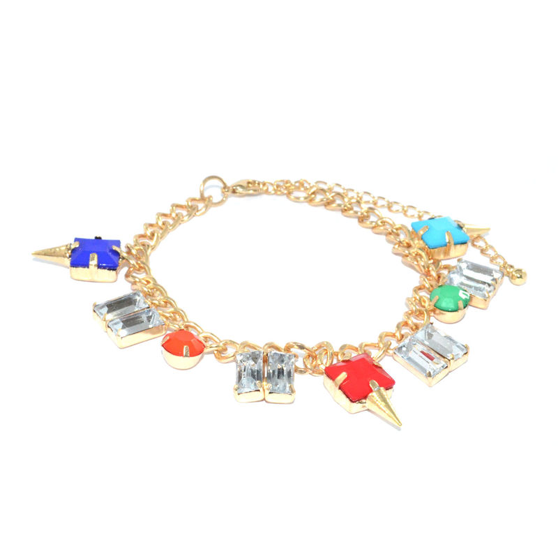 COLOURFUL GEM WITH CLEAR CRYSTAL BRACELET - product image