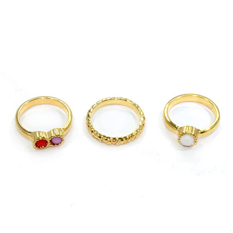 COLORFUL,GEM,MULTI,PACK,RING,ETCHED RINGS, MULTI-PACK RINGS, GOLD MINIMAL RINGS
