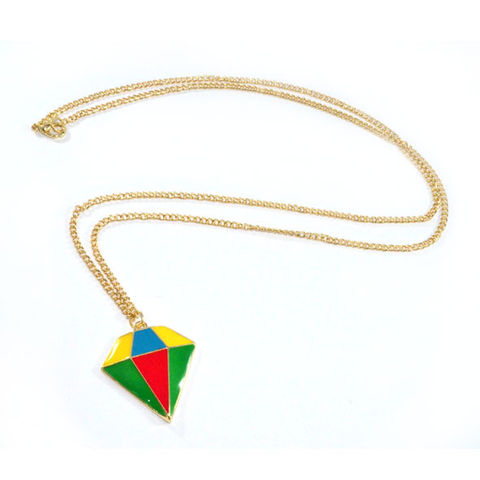 COLOURFUL,DIAMOND,SHAPE,NECKLACE