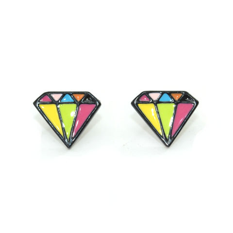 COLOURFUL,DIAMOND,SHAPE,EARRINGS