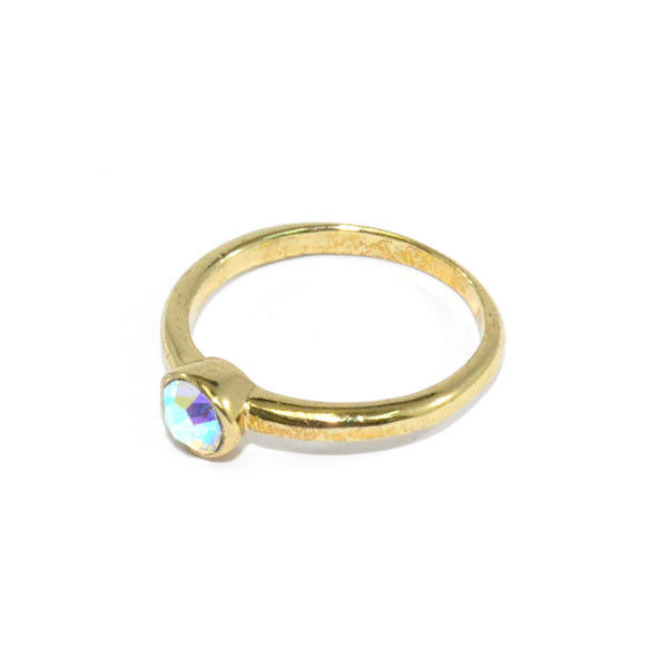COLOURFUL CRYSTAL WITH GOLD TONE RING - product image