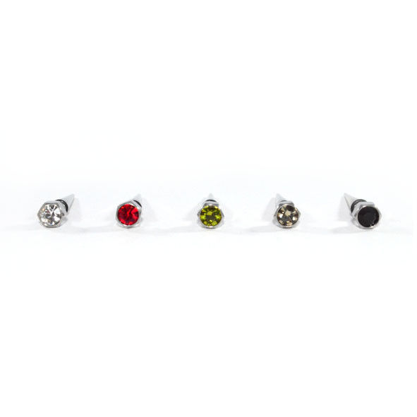 COLOUR CRYSTAL SCREW WITH SPIKE EARRING - product image