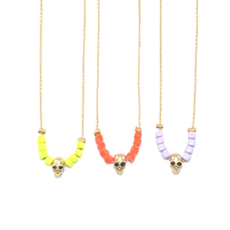 COLOUR BEADS WITH SKULL NECKLACE - product image