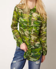 CHIFFON,CAMO,SHIRT,Shirts/Blouse