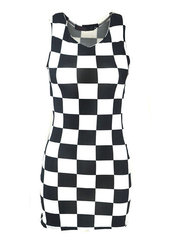 CHECKED,BODYCON,DRESS