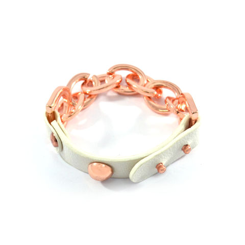 CHAIN,AND,LEATHER,BRACELET,CHAIN BRACELET, ROSE GOLD CHAIN BRACELET, LEATHER BRACELET, WHITE LEATHER BRACELET, WHITE FAUX LEATHER BRACELET, CHAIN AND FAUX LEATHER BRACELET,ROSE GOLD CHAIN AND WHITE LEATHER BRACELET