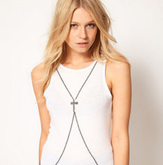 BODY,CROSS,NECKLACE,body necklace, body chain necklace, silver body necklace