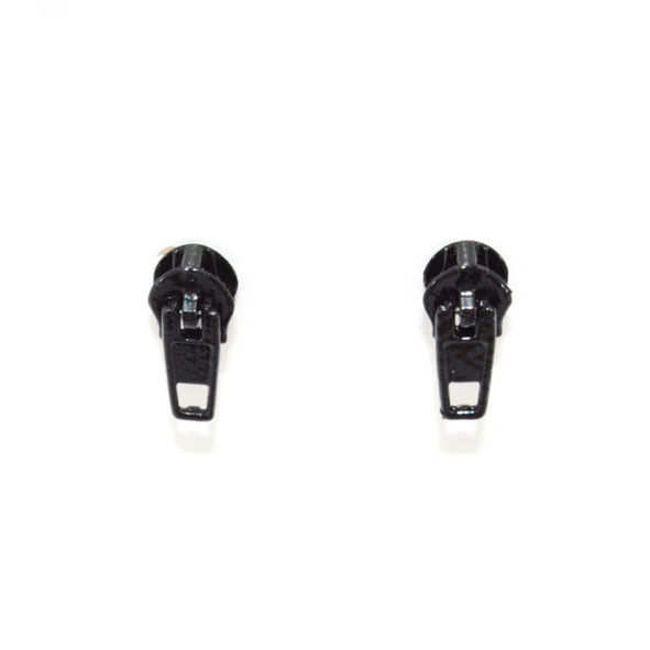 BLACK ZIP EARRINGS - product image