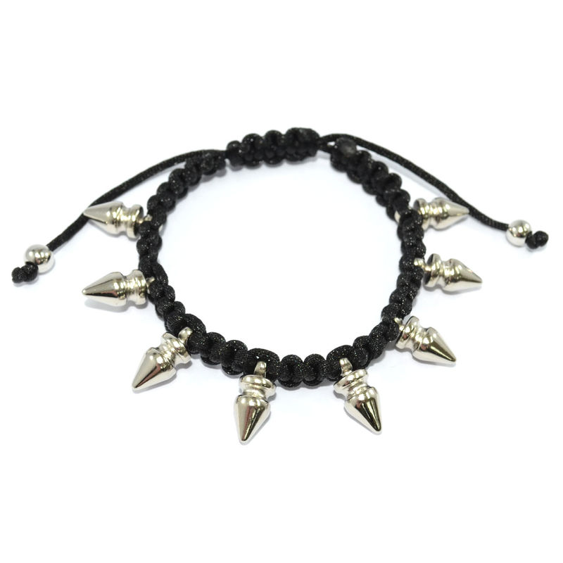 BLACK WOVEN STRING WITH SPIKE BRACELET - product image