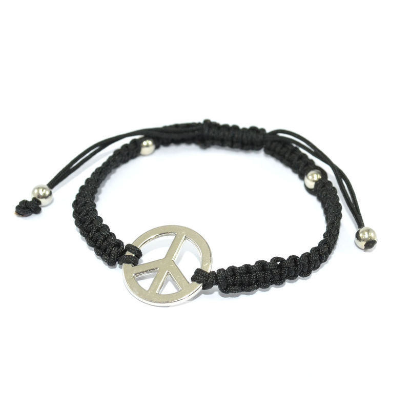 BLACK WOVEN STRING WITH PEACE CHARM BRACELET - product image