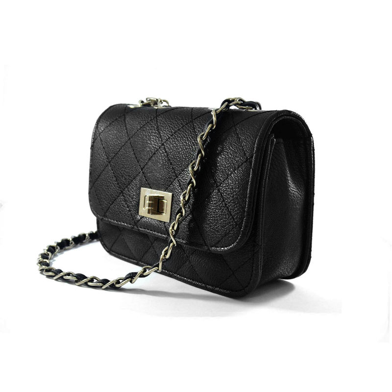 BLACK QUILTED SLING BAG - product image