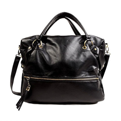 BLACK,FAUX,LEATHER,WEEKEND,BAG
