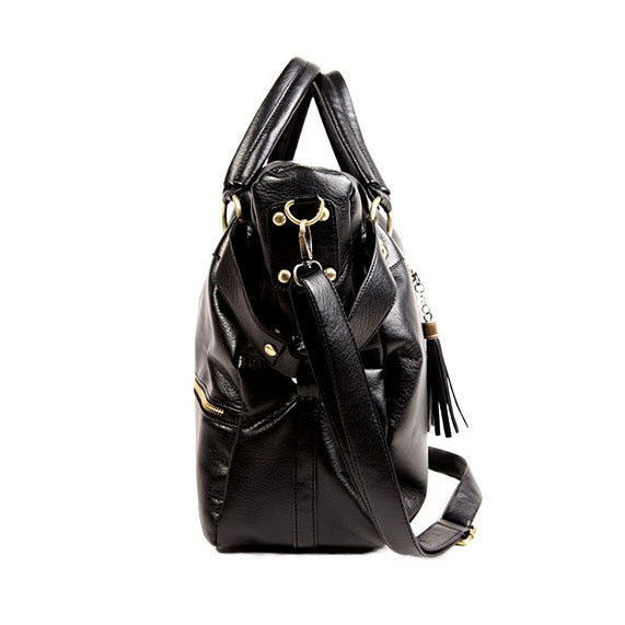 BLACK FAUX LEATHER WEEKEND BAG  - product image