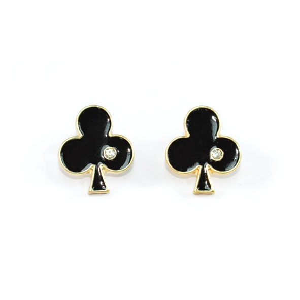 BLACK CLUB SUIT WITH CRYSTAL EARRINGS - product image