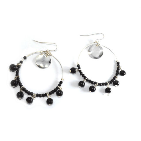 BLACK,BEADS,CIRCLE,DROP,EARRING