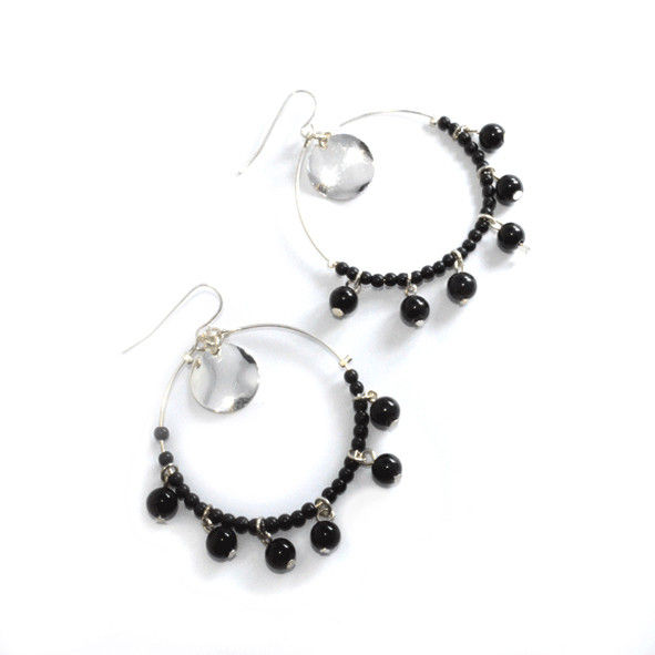 BLACK BEADS CIRCLE DROP EARRING - product image
