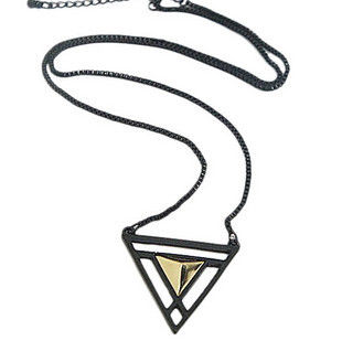 BLACK,AND,GOLD,TRIANGLE,NECKLACE