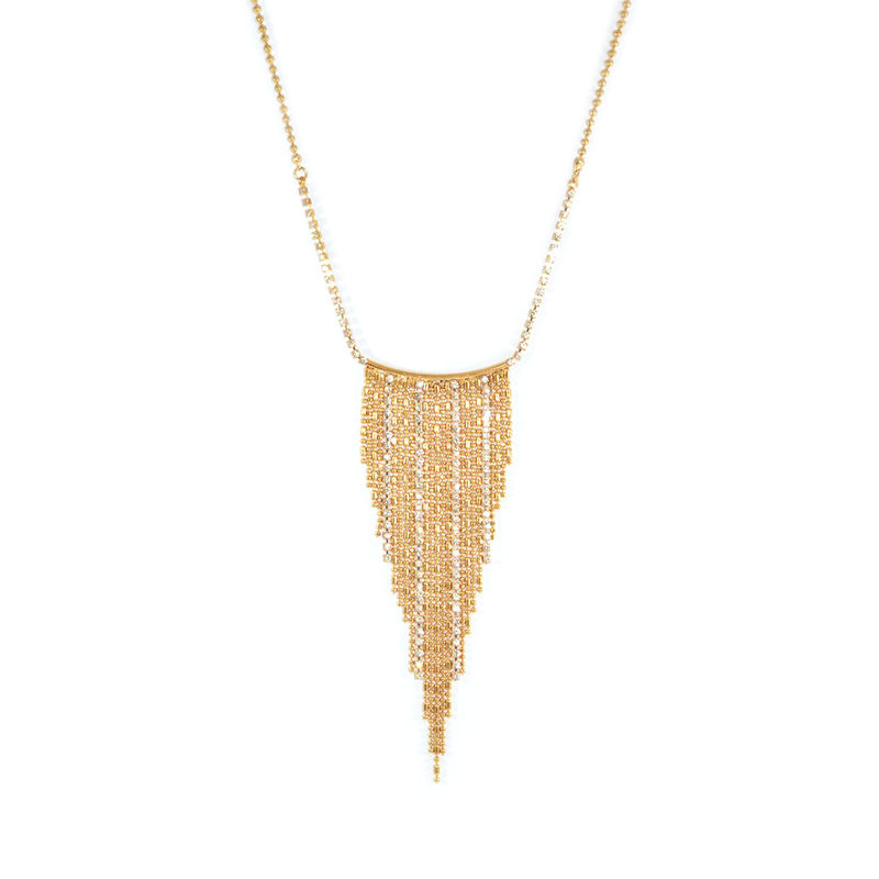 BEADS AND CRYSTALS TASSEL NECKLACE - product image