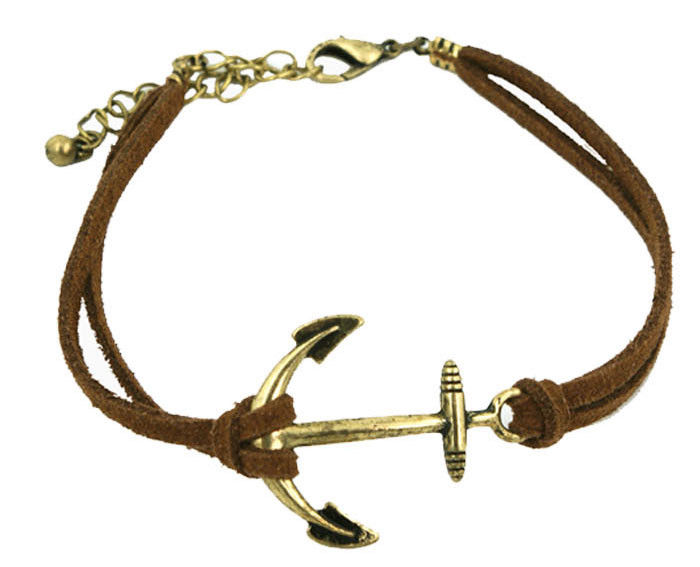 ANCHOR CHARM WITH LEATHER STRAP BRACELET - product image