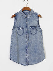 ACID,WASH,SLEEVELESS,DENIM,SHIRT