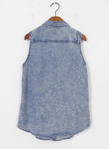 ACID WASH SLEEVELESS DENIM SHIRT - product image