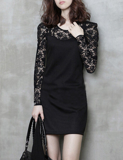 LACE SLEEVE DRESS - product image