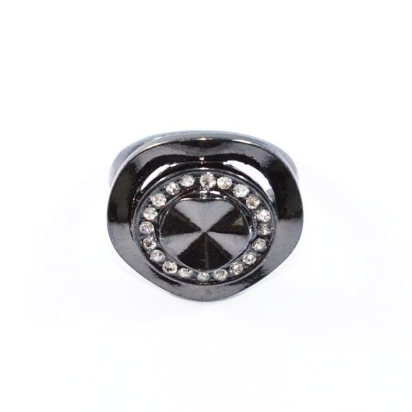 IRREGULAR EDGE WITH CRYSTALS DARK SILVER TONE RING - product image