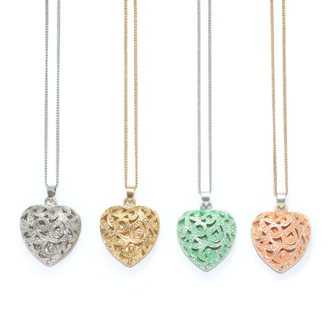 HOLLOW,PATTERN,HEART,LONG,CHAIN,NECKLACE