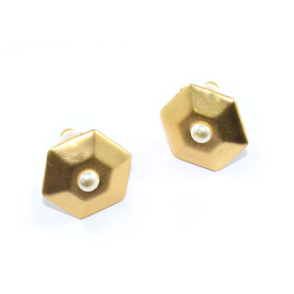 HEXAGON WITH PEARL EARRING - product image