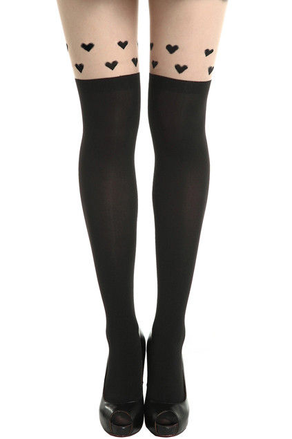 HEARTS TATTOO PATTERN TIGHTS  - product image