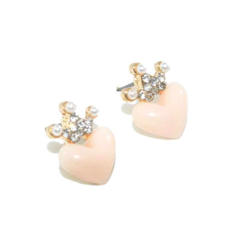 HEART WITH CRYSTAL CROWN EARRINGS - product image