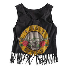 GUNS,AND,ROSES,FRINGE,TOP,T-shirts, Vests